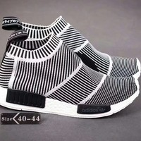 """""""Adidas NMD"""" Men Fashion Multicolor Stripe Knit Socks Sneakers All-match Casual Running Shoes"""