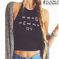 ZANZEA Women 2016 European Summer Style Ladies Sleeveless Crop Tops Casual Letter Printed Halter Vest Tank Tops Plus Size S-XL