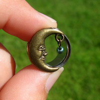 "Pair of Antique Brass Moon Tunnels with Beads - Girly Plugs - Feminine Gauges - 7/16"", 1/2"", 9/16"" (11mm, 12mm, 14mm) - Boho - Bohemian"