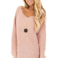 Blush Mohair Soft Long Sleeve Loose Fit Tunic Sweater