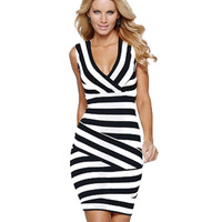 V-neck Striped Sleeveless Bodycon Mini Dress