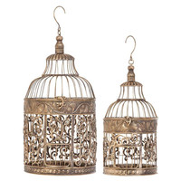 66017 Metal Bird Cage Set of 2 By Benzara