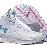 HCXX Men's Under Armor Curry 1 Basketball Shoes White 40-46