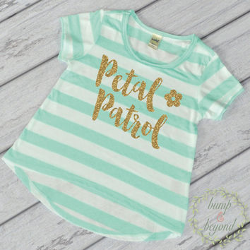 Flower Girl Shirt Petal Patrol Shirt Gold Glitter Flower Girl Shirt Flower Girl Wedding Rehearsal Shirt Glitter Flower Girl Shirt 148