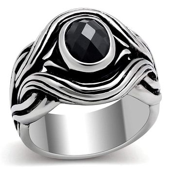 Mens Wedding Rings TK307 Stainless Steel Ring with AAA Grade CZ in Jet