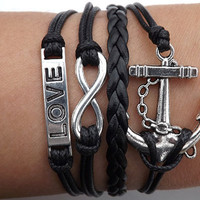 Infinity LOVE lovers bracelet--silver 8 infinity wish,LOVE and anchor leather bracelet,black wax rope leather braided bracelet