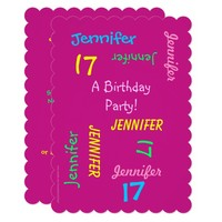 17th Birthday Party Invitation Hot Pink, Names
