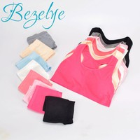1 Set Puberty Young Girl Training Bras Set Student Sport Vest Style Wire Free Padded Solid Running Bras Teenagers Underwears Set