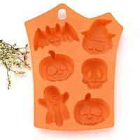 Halloween Silicone Cake Moulds, Pumpkin Skull Ghost Bat Shape Candy Soap & Ice Cube Craft Molds, Kitchen Baking Decoration Tools