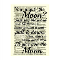 Lasso the Moon, It's a Wonderful Life Quote, Dictionary Print, Buy 2 Get 1 Free, Art Print, Wall Art, Wall Decor, Valentine's Day