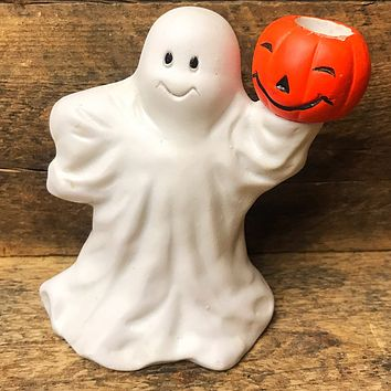 FTD 1993 Ghost with Jack-o-Lantern Candle Holder