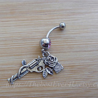 Silver Flowers gun Belly Button Ring, Belly Button Ring, Belly Ring, Body Jewelry, Belly Button Jewelry.