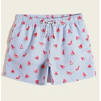 Fashion Casual Men Watermelon & Striped Print Swim Trunks