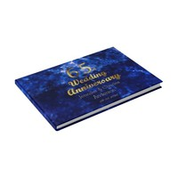 65th Sapphire Wedding Anniversary Gold Typography Guest Book