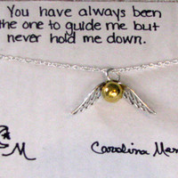GOLDEN SNITCH Silver Necklace and Quote Choice - Inspirational Card- Bridesmaids Gift - Friendship Necklace - Friends Forever - Quote Gift
