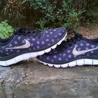 blinged nike free 5.0 V4 running sneakers athletic sport shoes black leopard womens custom with swarovski crystal