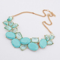 Green Geometric and Water Drop Shape Pendant Necklace
