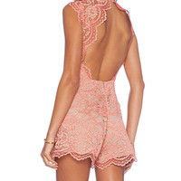 Alexis x REVOLVE St. Lucia Lace Romper in Taupe
