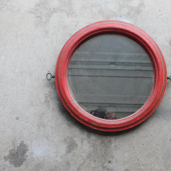 Vintage Red Round Shabby Wall Mirror, Home Decor