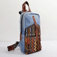 Tribal Print Denim & Canvas Backpack Chest pack