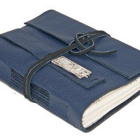 Navy Blue Leather Wrap Journal with Love Charm Bookmark - Ready to Ship