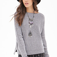 FOREVER 21 Striped Boat Neck Sweater