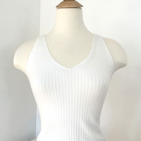 Ribbed Knit Crop Top - White