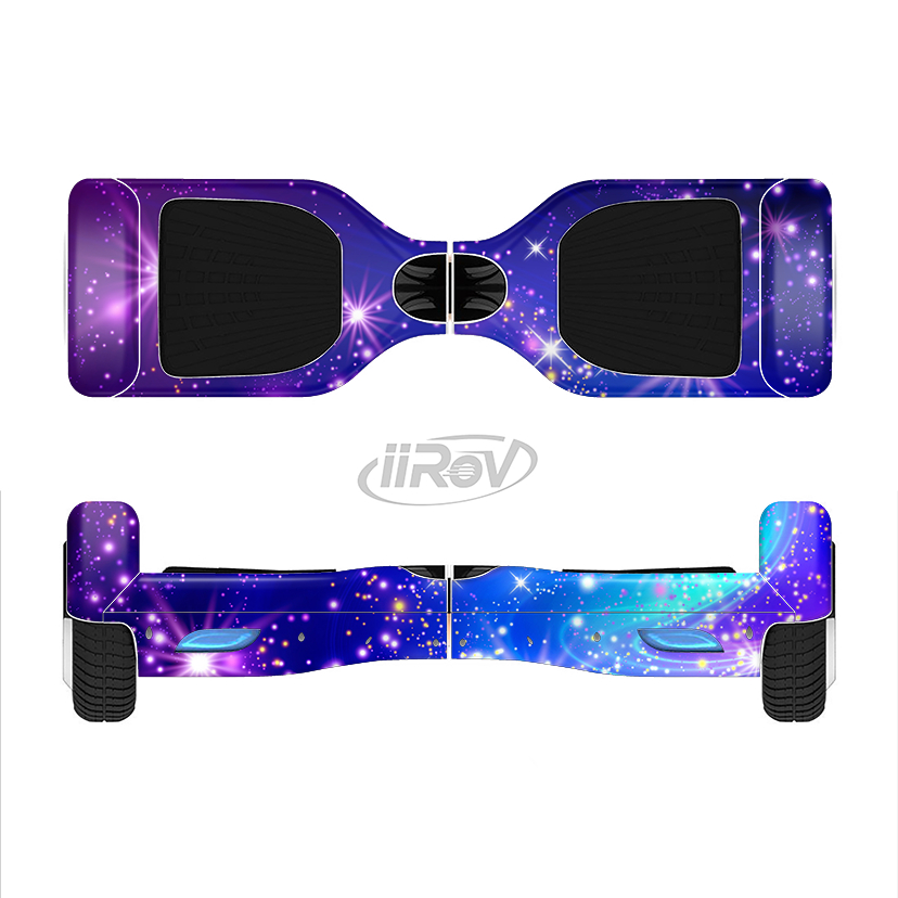 Image of The Glowing Pink & Blue Starry Orbit Full-Body Skin Set for the Smart Drifting SuperCharged iiRov HoverBoard