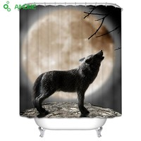 Under The Moon Howling Wolf  Shower Curtain 180x180cm/150 * 180 cm Waterproof  Polyester Shower Curtain Bathroom Decorations