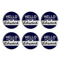 Edward Hello My Name Is Plastic Resin Button Set of 6