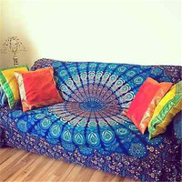 Large Cotton Indian Square Mandala Tapestry Wall Hanging Throw Towel Beach Yoga Mat Decor Boho