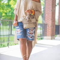 New Apricot Asymmetric Shoulder Knot Side Slits High-Low Casual T-Shirt