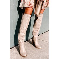 For Fashion's Sake Knee High Boots (Taupe Croc)