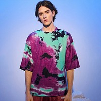 Fashion Casual Men Drop Shoulder Tie Dye Tee