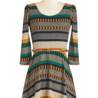 ModCloth Short Length 3 A-line Streets Ahead Dress in Teal