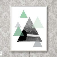 8x10 Geometric Forest Photo with Mint and Grey, Wilderness Mountain Print, Triangle, Lake Black White Photo, Travel print, Adventure Poster