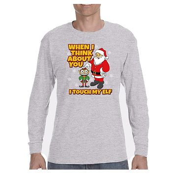 XtraFly Apparel Men's When I think of you I touch my Elf Ugly Christmas Long Sleeve T-Shirt