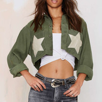 Army Green Star Print Long-Sleeve Collared Crop Tank Shirt