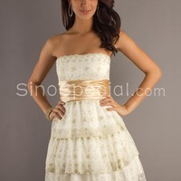 Beautiful A-line Strapless Neckline Knee Length Organza Graduation Dress -SinoSpecial.com