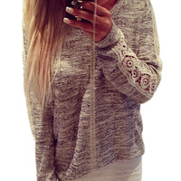 Gray Printed Long-Sleeved Lace Stitching T-Shirt