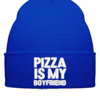 PIZZA IS MY BOYFRIEND Bucket Hat - Beanie Cuffed Knit Cap