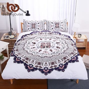 BeddingOutlet 3 Pcs Mandala Floral Printed Bedding Set Bohemia Design Quilt Cover Set for Bedroom Super Soft Boho Home Textiles