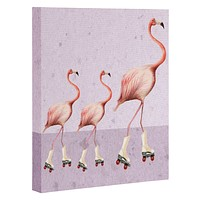 Coco de Paris Flamingo familly on rollerskates Art Canvas