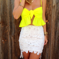 Floral Lace Hi-Low Skirt