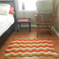 Chevron Rug with Fringe- autumn harvest fall colors- crochet rug- floor mat- doormat- chunky soft carpet- area rug- living room rug- runner