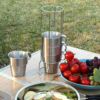 Stainless Steel Double Layer Coffee Mugs - 4 PCS