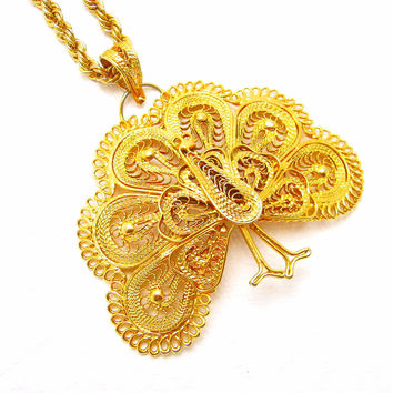 Large Filigree Peacock Pendant Necklace