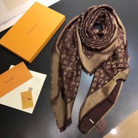 LV Women Smooth Cashmere Warm Winter Cape Scarf Scarves