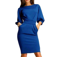 2016 Autumn Winter Womens Long Sleeve Clubwear Formal Evening OL Mini Dress Bodycon Hot Plus Size