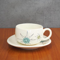 Franciscan Starburst Flat Cup and Saucer Set Mid Century Atomic Stoneware Dishes